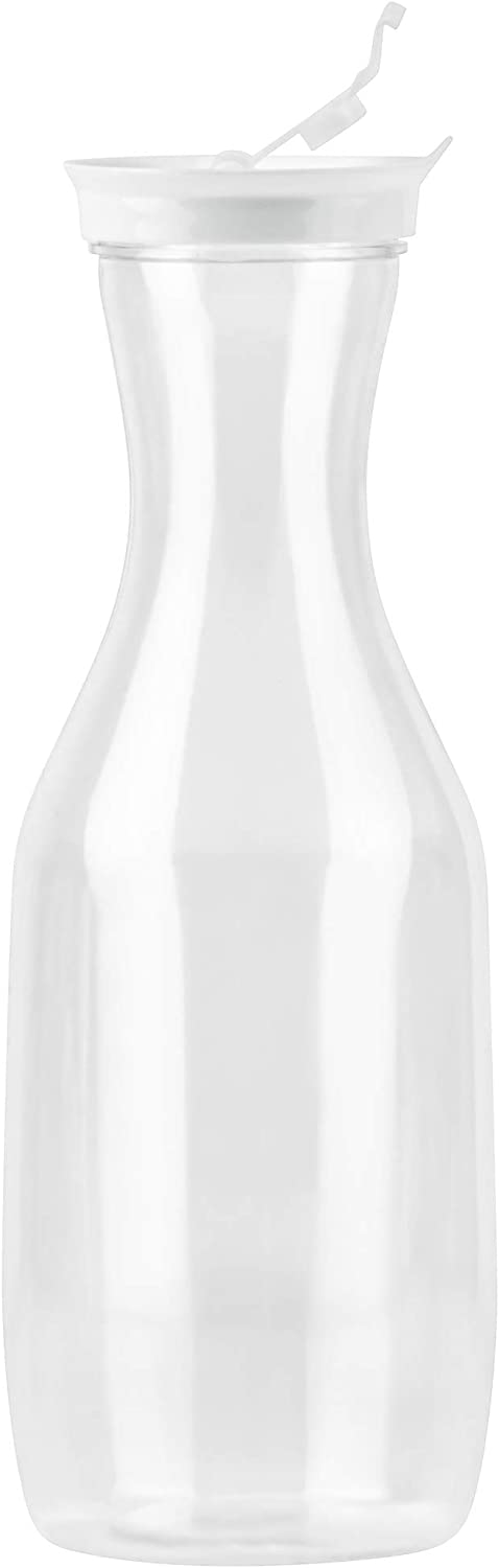 Serve Iced Tea Water Jug 50 Oz -BPA Free- Plastic Juice Pitcher Beach Clear Decanter DecorRack Large Water Carafes with Flip Top Lid Picnic 1 Pack Perfect for Outdoors Parties