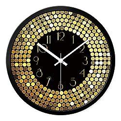 DE24SCX Large Decorative Mirror Quartz Wall Clocks Home Decor Vintage European Luxury Vintage Clock Living Room,Black Border,14 inch