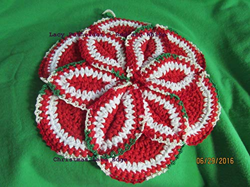 2 Hand Crocheted Pot Holders/Hot Pads Mixed set Red and White White and Red with Christmas Lace Edge