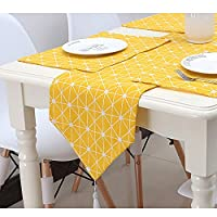 Minions Boutique Yellow Table Runners Modern Linen Cotton Table Runner for Dining Tabletop Rural Style Table Cloth Mat for Home Wedding Party