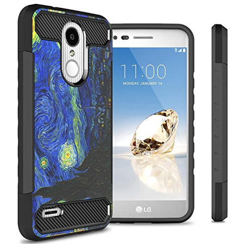 LG Rebel 4 LTE Phone Case, LG Phoenix 4 Case, LG Aristo 3 Phone Case, LG Tribute Empire Phone Case, CoverON Arc Series Hybrid Protective Hard Phone Case Cover with Carbon Fiber Accents - Starry Night