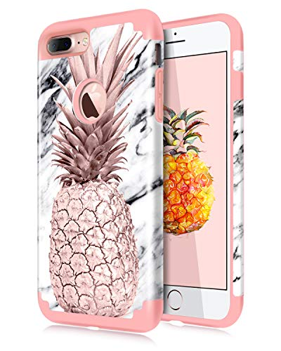 Dailylux iPhone 7 Plus Case,iPhone 8 Plus Case Marble Pineapple Girls Women Floral Slim Hybrid Hard PC Soft Silicone Anti-slip Shockproof Protective Case for iPhone 7 Plus/8 Plus 5.5