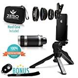 Camera Lens Kit by Zeso | Professional Telephoto, Macro & Wide Angle Lenses | Multi-use tripod And Selfie Remote Control | For iPhone, Samsung Galaxy, iPads, Tablets | Universal Phone Clip & Hard Case