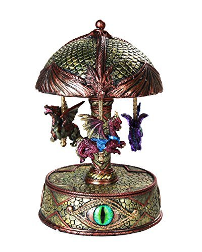 - Pacific Giftware Mystical Fantasy Dragons Vintage Carousel Music Box Collectible 8.5 Inch Tall Dragon Eye Base Flying Wyverns Musical Toy Figurine Collectible