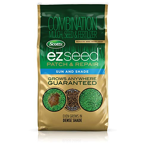 Scotts EZ Seed Patch and Repair Sun and Shade, 10 lb. - Combination Mulch, Seed and Fertilizer, Tackifier Reduces Seed Wash-Away - Full Sun, Dense Shade, High Traffic Areas - Covers up to 225 sq. ft. (St Augustine Grass Seed Mix)