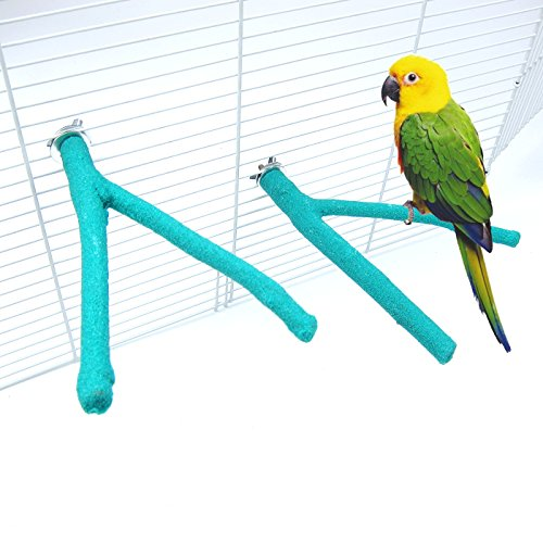 Alfie Pet - Akira Sand Covered Y-Rack 2-Piece Set for Birds - Color: Green, Size: Small