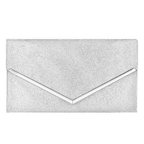 CurvChic Women Rhinestone Evening Bag Clutch Purse for Wedding Prom Cocktail Party (Sliver)