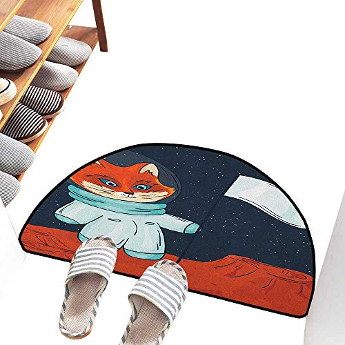 Entrance Door mat Explore Fox Cosmonaut Raising a Flag on an Alien Planet Outer Space Themed Illustration with Anti-Slip Support W31 xL20 Multicolor