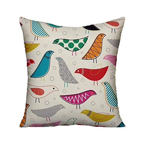 FJTP Creativebug Midcentury Modern Simple Lines Colorful Bird Flax Cotton Hidden Zipper Throw Pillow Covers 16×16 in…