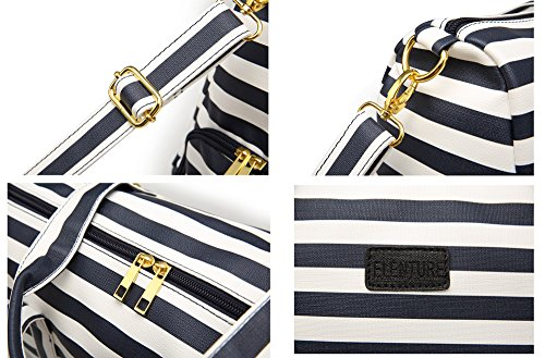Elenture Weekender Tote Bag Leather Travel Duffel Bag Overnight Carry Bag (Navy Blue/White Stripe) by Elenture (Image #5)