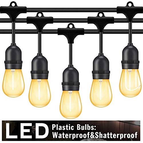 Outdoor String Lights Led 48 Ft,Waterproof Commercial Grade Heavy Duty Connectable Edison String Light with 15 Vintage Bulbs and 1 Spare Bulb UL listed,String Lighting for Patio Garden Wedding -