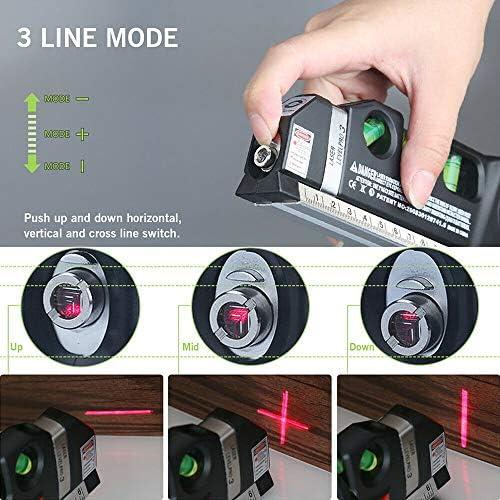 3 en 1 niveau laser aligneur vertical horizon cross line bande de mesure règle spirit