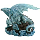 Blue Water Dragon on Rock Fantasy Figure Decoration