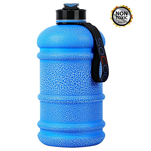 Water Jug 2.2L Large Water Bottle Crackle Coating Leak Proof Giant Sports Water Bottle for Gym Fitness Athletic Outdoor Camping Big BPA Free Plastic Sports Royal Blue