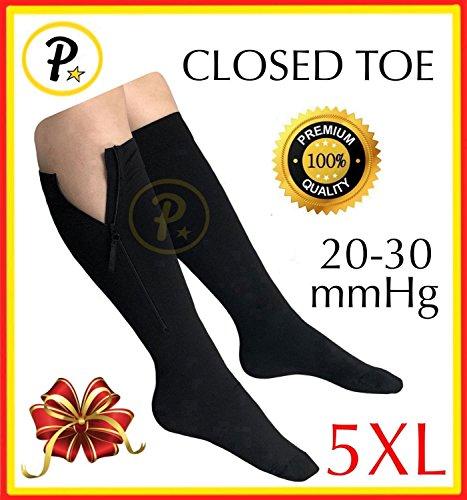 Presadee Closed Toe Super Size Big Tall 20-30 mmHg Premium Zipper Compression EZ Zip Up Big Wide Calf Leg Length Shin Support Sock (Black, 5XL)