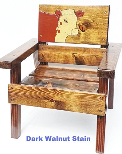 Kids Wooden Chair with Arms, Heirloom Gift, Engraved and Painted Hereford Cow Design, Indoor / Outdoor