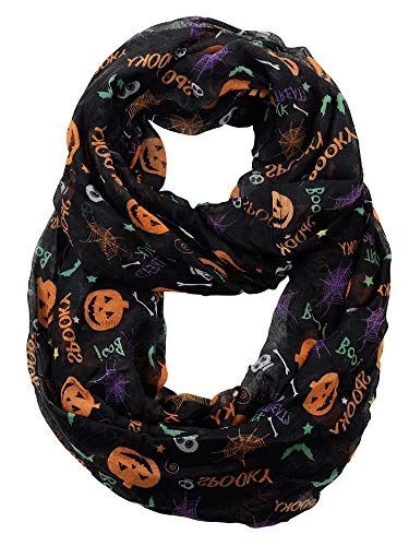 D&Y Halloween Theme Sheer Loop Infinity Scarf, Boo and Spooky