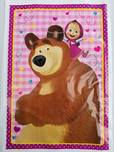 Marsha and The Bear Party Favor Bags Loots Treat Candy Birthday Goody Plastic Pack of 10
