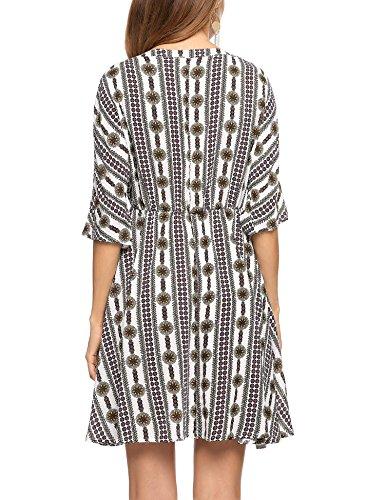 Beach Women's Tunic Neck Printed Floral V White Dress Dress Flare ACEVOG T1n680dT