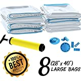 "Space Saver Vacuum Seal Storage Bags for Clothes and Bedding Airtight & Reusable Includes Hand Pump for Compressing Travel Luggage Large and Strong (80-micron) 40""x 28"" 8-pack by Big-e"