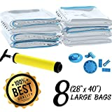 reusable vacuum storage bags - Space Saver Vacuum Seal Storage Bags for Clothes and Bedding Airtight & Reusable Includes Hand Pump for Compressing Travel Luggage Large and Strong (80-micron) 40