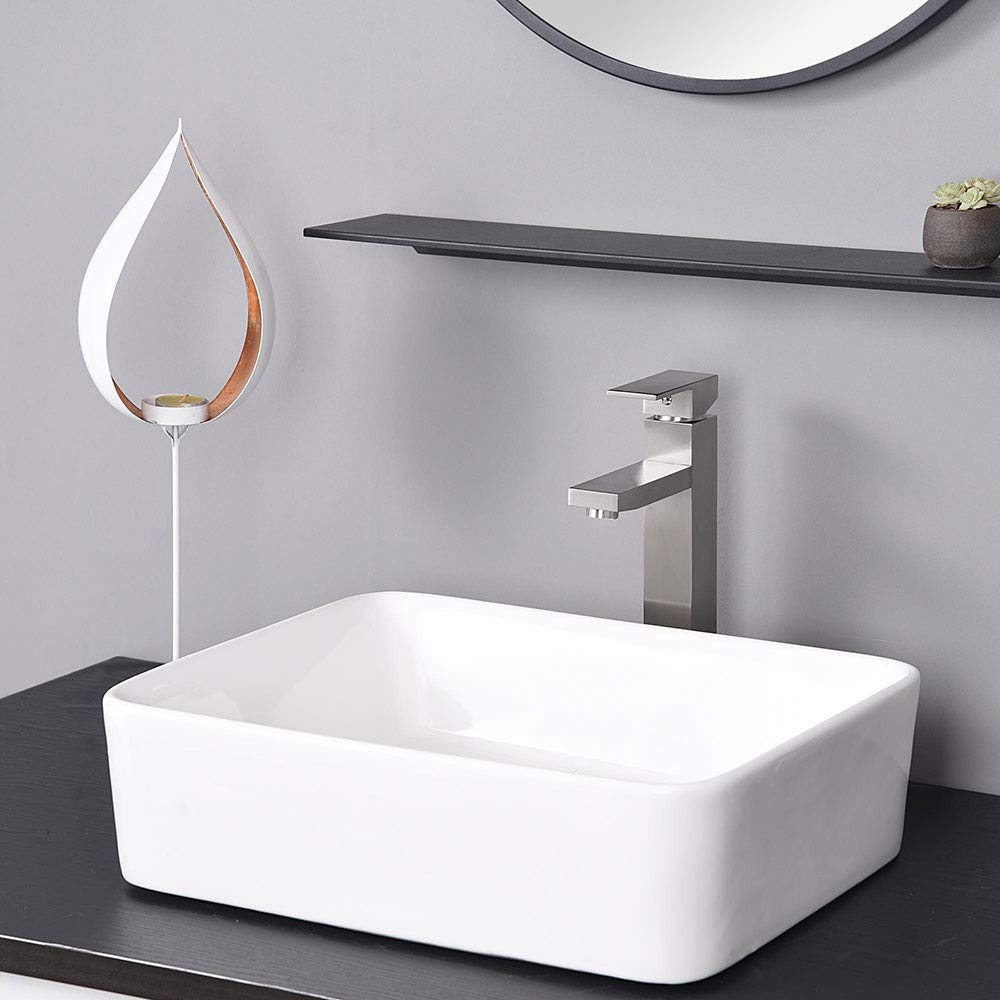 Buy Aquaterior Modern Brushed Nickel Single Hole Tall Vessel Sink Faucet For Bathroom One Handle Mixer Faucet Diy Cupc Nsf Online At Low Prices In India Amazon In