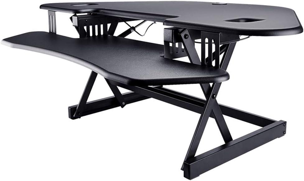 """YNN 黒の高さ調節可能なスタンディングデスクワークステーション - 安い、ディスカウント価格モニターライザー45""""シットスタンド卓上コンバーター"""
