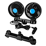 Auky Car Fans,12V Electric Auto Cooling Fan, Headrest 360 Degree Rotatable 2 Speed Dual Head Rear Seat Air Fan for Vehicle Truck SUV RV Boat