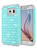 S6 Case, Galaxy S6 Case, Jeylly Girls Bling Crystal Studded Rhinestone Diamond Case Hybrid Shockproof Dual Layer Defender Protective Women Cover shell for Samsung Galaxy S6 S VI G9200 GS6 - Turquoise