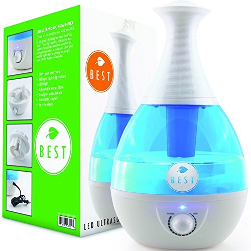 Best Cool Mist Humidifier UltraSonic Steam Vaporizer - Whisper Quiet Technology, Moistair Electric with Warm LED Light