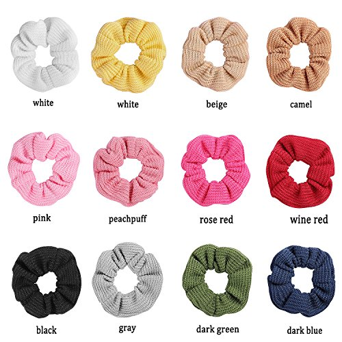 Whaline 12 Colors Hair Scrunchies Knit Elastic Hair Bobbles Hair Scrunchy Soft Ponytail Holder Hair Bands for Kids Adults by Whaline (Image #3)