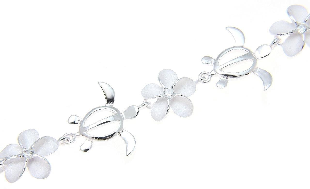 Arthur s Jewelry 925 Sterling silver Hawaiian plumeria flower honu turtle bracelet 7