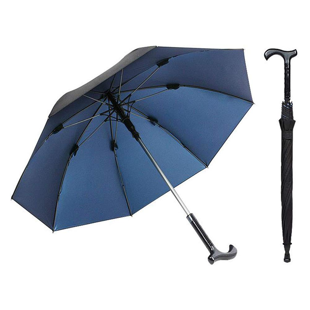XMXWQ Walking Stick Umbrella,Multifunctional Outdoor Reinforced Straight Rod Old Man Crutch Umbrella Anti-Skid Assist Can Separate