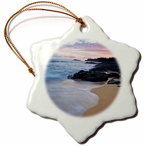3dRose orn_143888_1 Usa, Hawaii, Kauai. Secret Beach At Dawn Us12 Bjy0006 Jaynes Gallery Snowflake Ornament, Porcelain, 3-Inch by 3dRose