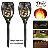 TOPCHANCES 96LED Solar Lights, 2 Pack Waterproof Flame Effect Light Flickering Flames Torches Lights Solar Spotlights Landscape Decoration Lighting Dusk to Dawn Auto On/Off Security Torch Light