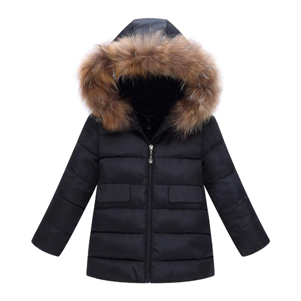 Little Kids Winter Warm Coat,Jchen(TM) Baby Kids Little Girl Boy Solid Color Hooded Long Coat Keep Warm Outerwear Jacket for 0-5 T (Age: 2-3 Years Old, Black)