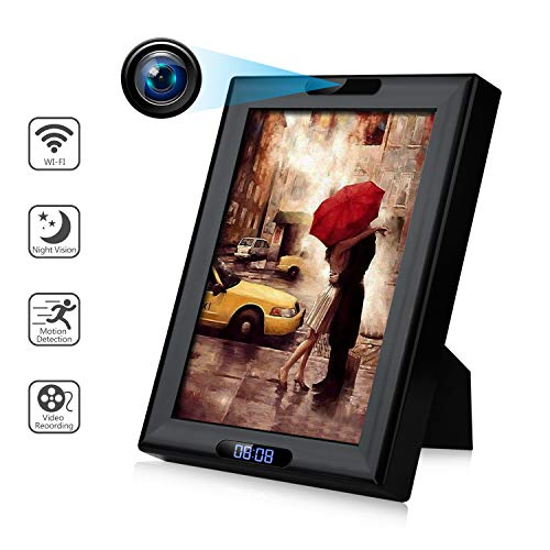 Hidden Cams - Wireless Camera Photo Frame with Clock HD 1080P WiFi IP Nanny Cam Home Security Cameras Night Vision Motion Detection
