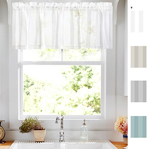 Sheer Valance Curtain White 14 inch Rod Pocket Window Curtain Striped Design Voile Curtain ()