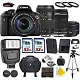 Canon EOS Rebel T6i 24.2 MP Digital SLR with Canon EF-S 18-135mm f/3.5-5.6 IS STM + Tamron AF 70-300mm F/4-5.6 + Canon EF 50mm f/1.8 II Lens + 2 Commander 32GB Memory Cards + 3pc Commander UV Filters