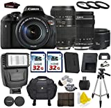 Cheap Canon EOS Rebel T6i 24.2 MP Digital SLR with Canon EF-S 18-135mm f/3.5-5.6 IS STM + Tamron AF 70-300mm F/4-5.6 + Canon EF 50mm f/1.8 II Lens + 2 Commander 32GB Memory Cards + 3pc Commander UV Filters