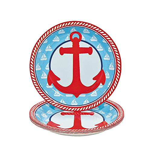 - Fun Express - 1st Sailor Dessert Plates (8pc) for Birthday - Party Supplies - Print Tableware - Print Plates & Bowls - Birthday - 8 Pieces