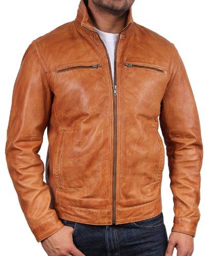 (Brandslock Mens Leather Biker Jacket Coat Designer X-Large Tan)
