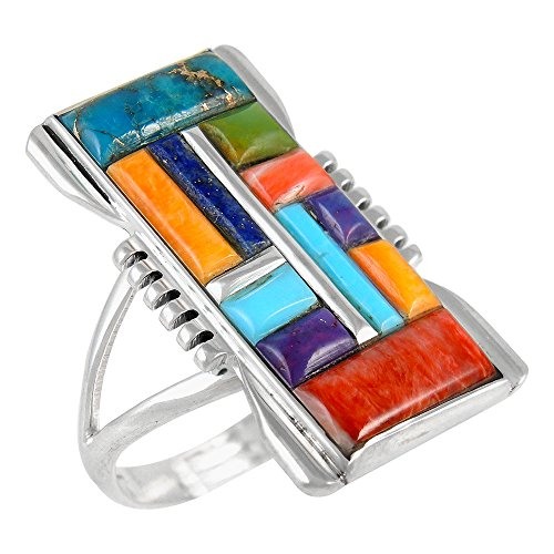 Sterling Silver Ring with Genuine Turquoise & Gemstones (SELECT color) (Multi-C51, 6) - Multi Gemstone Inlay Ring