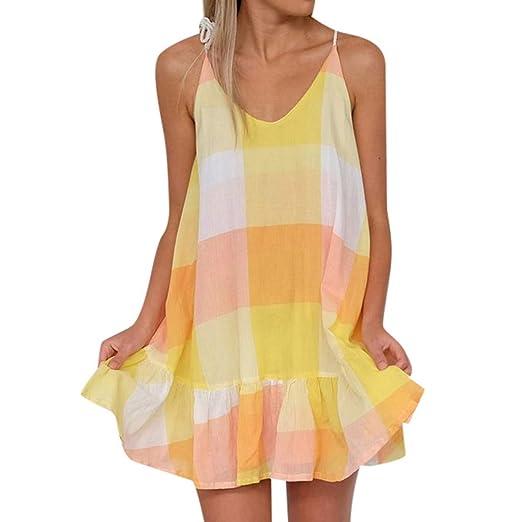 ff1bae4fbb0f Transer- Womens Criss Cross Strappy Dress Ruffles Backless Geometric  Pattern Casual Loose Fitted Beach Mini