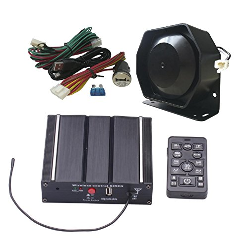 AS 100W Federal Siren Kit AS7100D-SPK0021 3-Piece Pack 20 Tones 12V with Siren Box Speaker Wireless Remote Microphone Fit for Different Vehicles