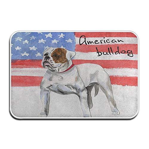 Jubenlcai Doormats Indoor Entrance 23.6 x 15.7 Inches Vintage American Flag Bulldog Pug Dog Floor Mats for Shoe Scraper Rug Outdoor Bathroom Carpet (American Bulldog Dog Shoes)