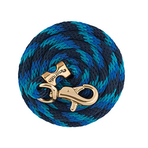 Weaver Leather Poly Lead with Brass Plated Bull Trigger Snap, Navy/Blue/Turquoise