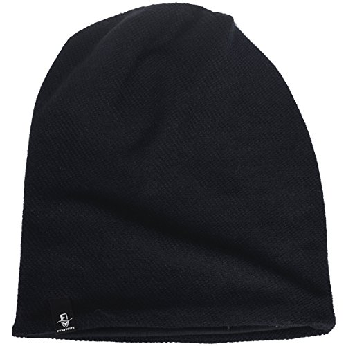 Review Men's Cool Cotton Beanie Slouch Skull Cap Long Baggy Hip-hop Winter Summer Hat B305 (B305-Black)