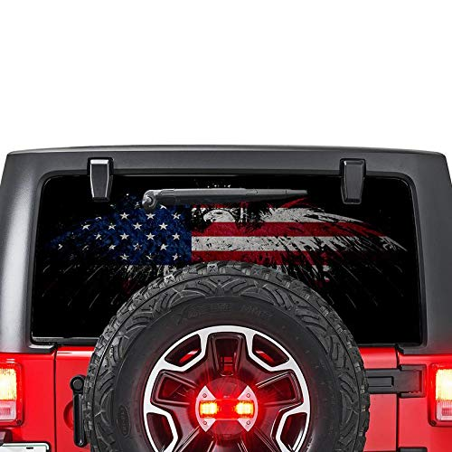 Rear Window Graphic Kit - Gold Fish Decals Rear Window Perforated See Thru Graphic Decal Sticker Eagle 5 Compatible with Jeep Wrangler JK -Rubicon