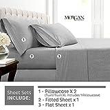 Morgan Home - Juego de sábanas de Punto de algodón para Todas Las Estaciones, cálidas y acogedoras, Gris Heather, Full